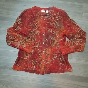Chico's Burgundy Lace Overlay Semi Sheer Jacket
